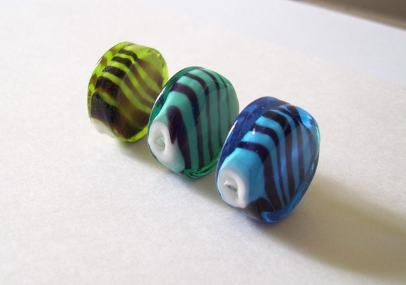 Where the Ocean Meets the Meadow - Lampwork Color Encased Beads - Striped with White Core - 3 pieces