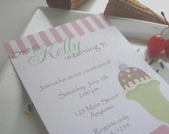 Ice Cream Birthday Party Custom Invitations - Ice Cream Social Collection