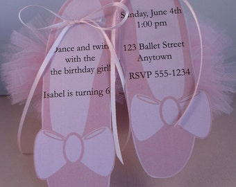 Ballet Birthday Party Custom Invitations - My Little Ballerina Collection