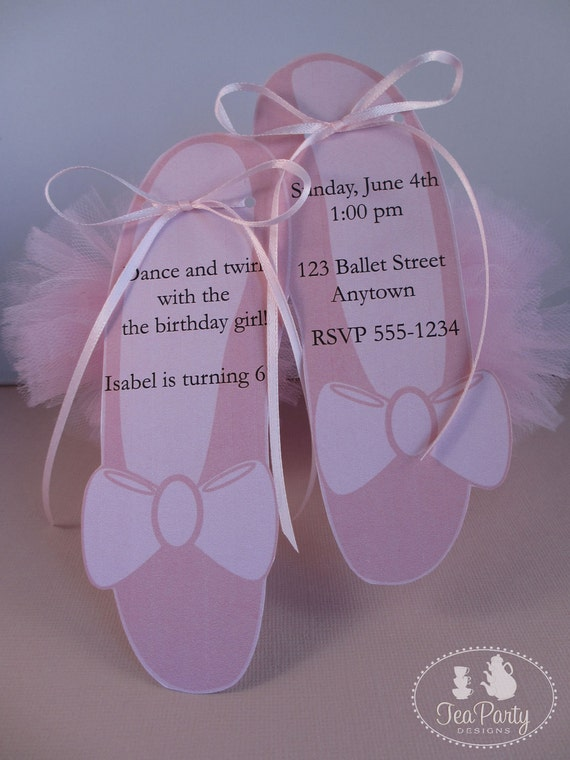 Ballet Birthday Party Custom Invitations - My Little Ballerina Collection