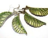 Green Leaf Earrings, Nature Earrings, Simple Modern Jewelry, Bronze or Silver Earrings, Woodland Earrings, Plant Earrings, Wing Gift for Her