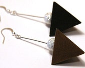 Geometrical Pyramid Earrings. Modern Minimalist Earrings. Dark Chocolate Brown Wood. Sterling Silver Stardust Bead. Modern Edgy