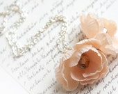 Romantic Flower Necklace Blush Pink Flowers Sterling Silver Chain Pastel Flower Pendant Shabby Chic Necklace Peach Pink Wedding Necklace