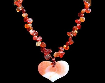 Summer Outdoors Large Carnelian Heart Necklace Genuine Gemstone Necklace Statement Necklace Luxury Gift for her Natural Stone Burnt Orange