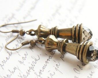 Summer Outdoors Chess Earrings Queen Earrings Smoky Quartz Crystal Earrings Antique Bronze Earrings Chess Piece vintage style gift for mom