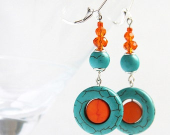 Summer Party Turquoise Jewelry Birthstone Gift for her Dangle Earrings Mod Orange Turquoise Earrings Crystal Sterling Silver Boho Girlfriend