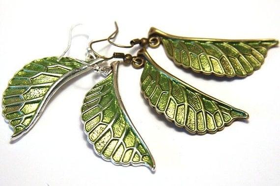 Summer Party Gift Green Leaf Earrings Nature Earrings Simple Modern Jewelry Bronze or Silver Earrings Woodland Earrings Plant St Patricks