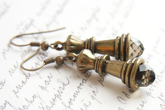 Chess Earrings, Queen Earrings, Smoky Quartz Crystal Earrings, Antique Bronze Earrings, Chess Piece, vintage style, gift for mom girlfriend