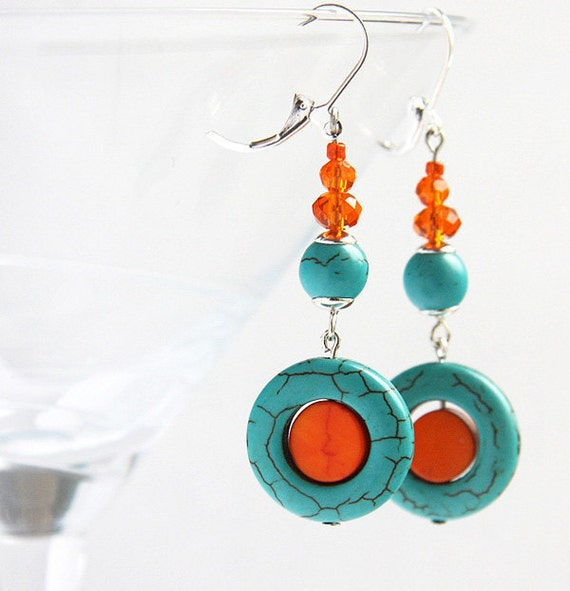 Turquoise Jewelry, December Birthstone Earrings, Dangle Earrings, Mod Orange and Turquoise Earrings Swarovski Crystals Sterling Silver