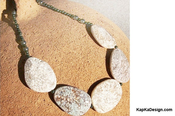 Statement Necklace. Ocean Jasper Stone Necklace WARNING HUGE. Neutral Beige. Highly Polished Big Faceted Stones. Luxe Jewelry