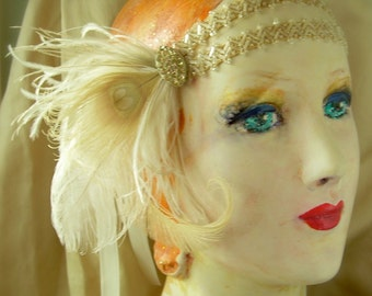 flapper headdress edwardian headpiece of 1920s beaded trim antique rhinestones and bird friendly ivory and champagne feathers - ellie