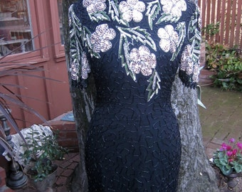 Vintage Dress Open Back  Dress 80s Dress 1980 Beaded Dress Silk Dress Flower Dress Sequence Dress Vintage Black Dress
