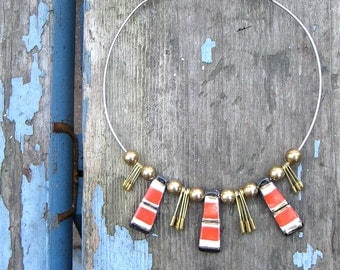 Vintage Necklace Boho Necklace Tribal Clay Beads 1970 70s Boho Bohemian Hippie Free People Style Festival Jewelry