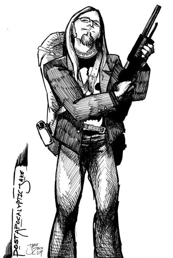 Post Apocalyptic Jake  comic art 11x17 glossy print