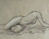 Original Beautiful Voluptuous Woman Nude Pencil Drawing on Paper