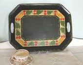 Antique Black Painted Tole Ware Tray
