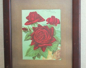Antique Botanical Chromolithograph Print of Red Roses in Oak Frame    Sale was 67.00