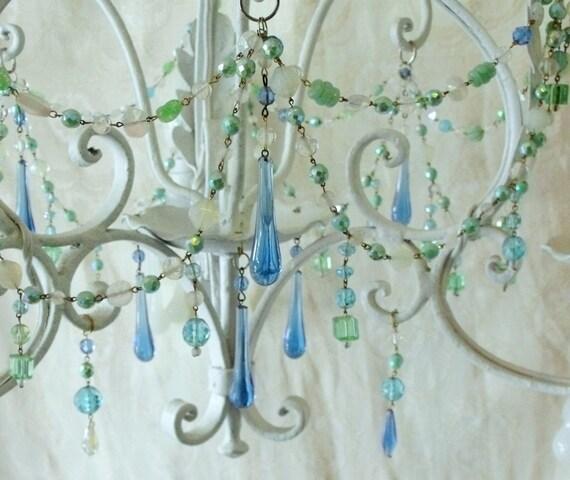 Dreamy Vintage Aqua and Opal Czech Glass Chandelier