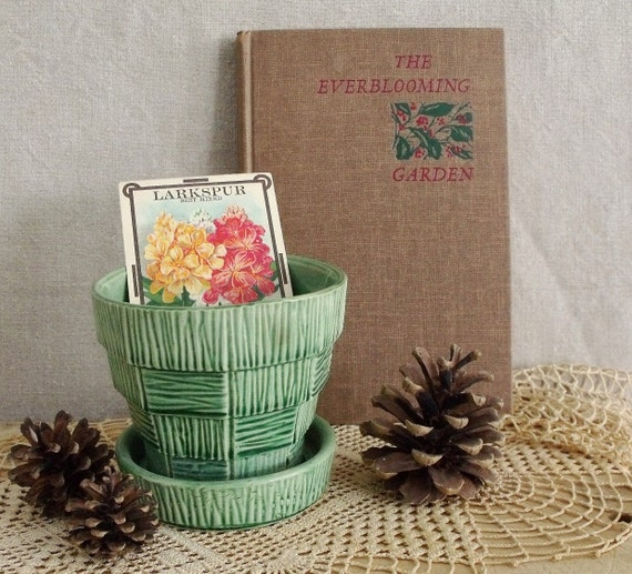 Green McCoy Pottery Planter and Everblooming Garden Book