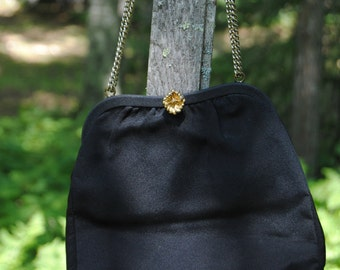 1960's Vintage Black Purse with Gold Flower Clasp