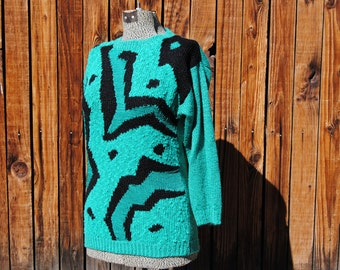 Real Housewives of  the 1980's Graphic Teal and Black Sweater