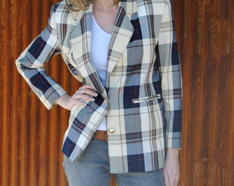 Vintage 1980's Plaid Jacket in Nautical Colors