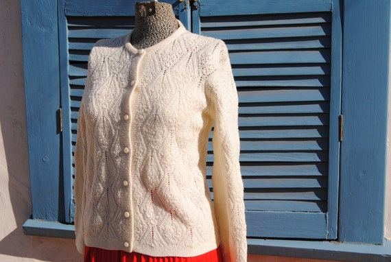 Vintage 1960's White Knit Cardigan with Large Pearly Buttons-Sweet and Simple