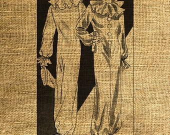 INSTANT DOWNLOAD Pierrot  Fashion Vintage Illustration - Download and Print - Image Transfer - Digital Sheet by Room29 Sheet no. 606