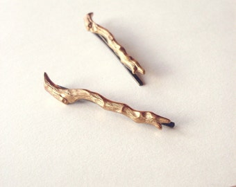 Gold Branch Bobby Pins Twig Hair Clips Bridal Grips Bridesmaid Slides Rustic Woodland Wedding Hair Accessories Unique Womens Gift For Her