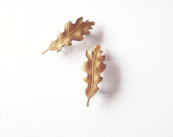 Gold Oak Leaf Barrettes Bridal Hair Clips Bride Bridesmaid Garden Botanical Rustic Woodland Wedding Accessories Vintage Inspired Womens Gift