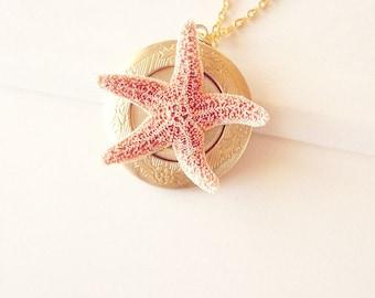 Mermaid Locket Starfish Necklace Sea Star Jewelry Ariel Bride Bridal Bridesmaid Nautical Ocean Destination Beach Wedding Womens Gift Summer