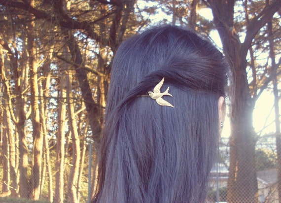 Gold Bird Bobby Pin Hunger Games Mockingjay Boho Bohemian Free Rustic Music Festival Accessories Girlfriend Womens Gift For Her Autumn Fall