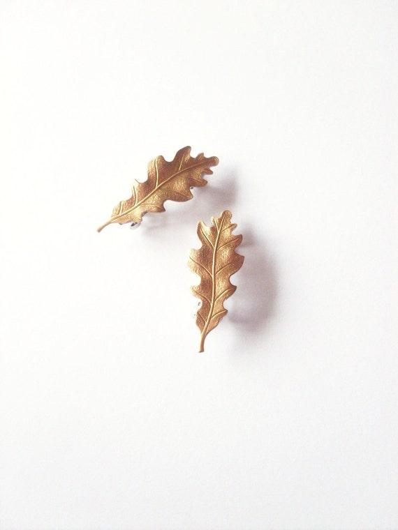 Gold Oak Leaf Barrettes Bridal Hair Clips Bride Bridesmaid Garden Botanical Rustic Woodland Wedding Accessories Womens Gift For Her Spring