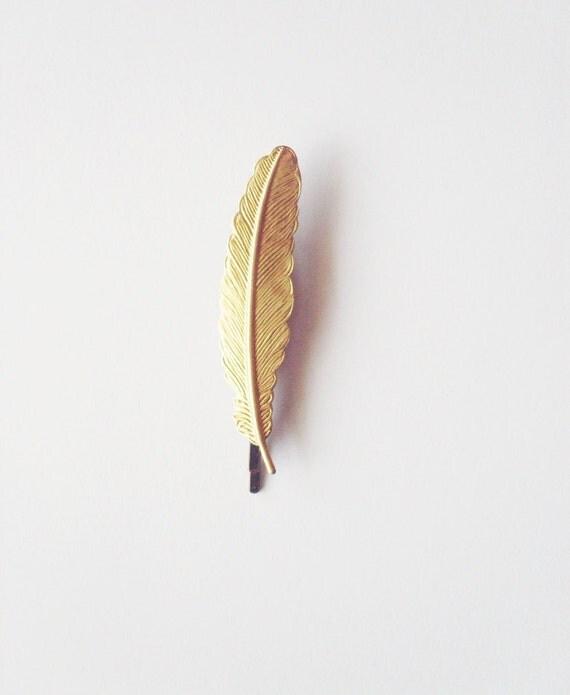 Plume épingle à cheveux coiffure or Clip Boho Bohème Festival oiseau rustique Woodland accessoires Style Vintage Unique Womens cadeau de mariage