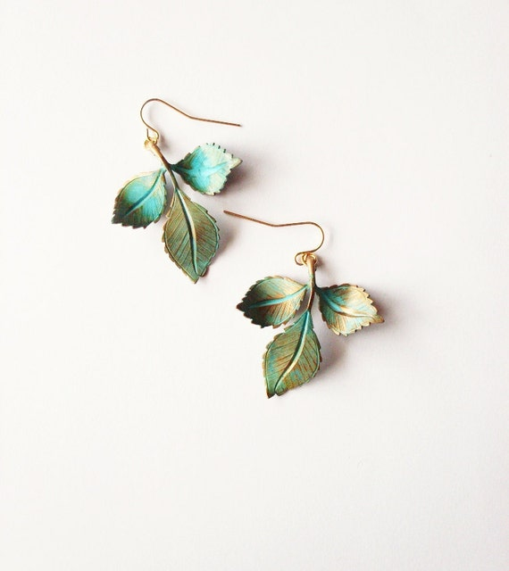 Green Leaf Earrings Botanical Jewelry Nature Charm Forest Garden Bridal Bridesmaid Rustic Woodland Wedding Accessories Womens Gift Spring