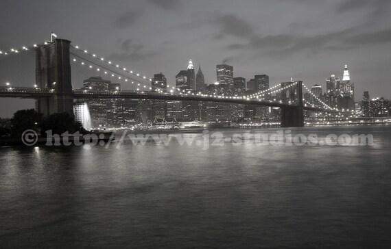manhattan at night, black white photography, fine art print, new york city photograph, brooklyn bridge, twinkling lights