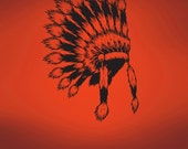 Vinyl Wall Art Decal Sticker Indian Head Dress 493