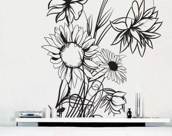 Vinyl Wall Decal Sticker Sunflower Floral Flower Plant 305s
