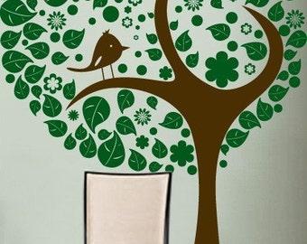 Vinyl Wall Decal Sticker Stylish Tree w Leaves Bird 6ft item 269A