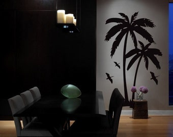 Vinyl Wall Art Decal Sticker Palm Tree and Birds 6ft Tall item 134A