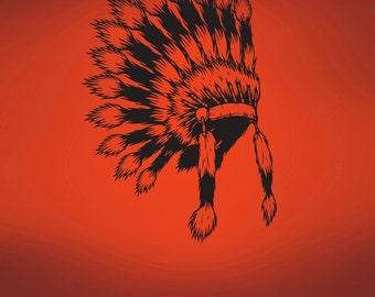 Vinyl Wall Art Decal Sticker Indian Head Dress 493