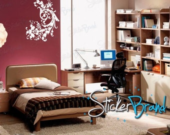 Vinyl Wall Decal Sticker Swirl Flower 687