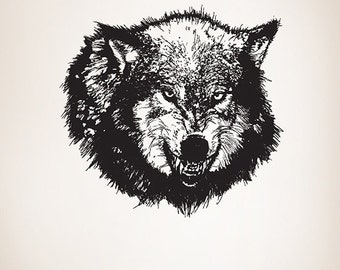 Vinyl Wall Decal Sticker Angry Wolf 789m