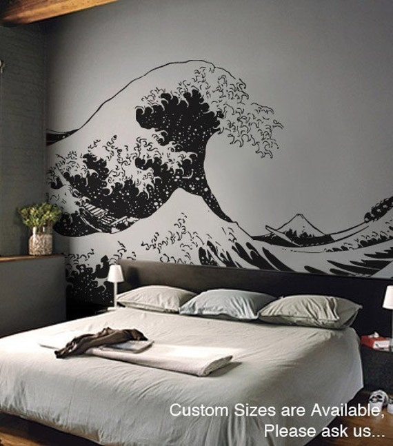 Vinyl Wall Decal Sticker Japanese Great Wave Hokusai LARGE 7ft X 11.2ft item363B