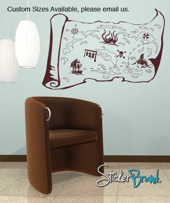 Pirates Kids Wall Decal: Vinyl Wall Decal Sticker Pirate Treasure Map GFoster145s