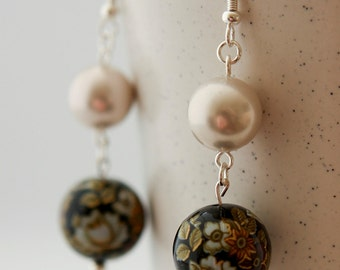 Japanese Flowers and Pearls Earrings