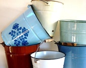 Vintage French  Enamel Buckets in Blues, Yellow or White, all with Wooden handle