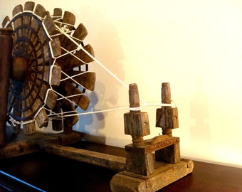 Vintage Handmade Wooden Spinning Wheel