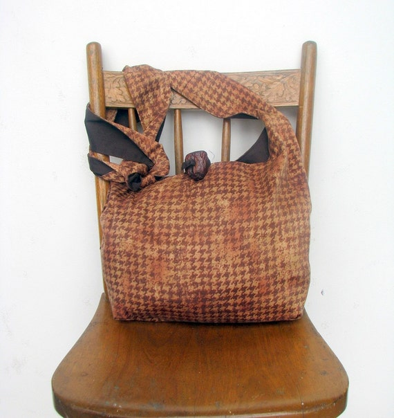 HOBO PURSE Houndstooth Bag Long Strap Vegan Purse Hippie Purse Handmade Bag Brown Hobo Bag Bohemian Bag Boho Bag Vegan Bag Crossbody Bag