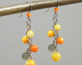 Aligning Stars - Orange Yellow Gray Beaded Earrings - Bright Warm Golden Yellow Marigold  Silver Cluster Earrings